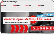 Webdesign und Onlineshop für Urban Mobility Germany Authorized Segway Distributor GmbH