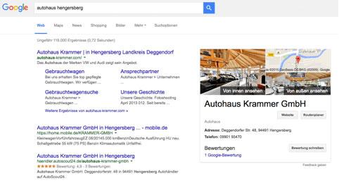 Darstellung Webagentur Schubert in Suchergebnissen