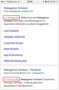 Kennzeichnung mobiler Webseiten auf google.de am Beispiel der Webagentur Schubert