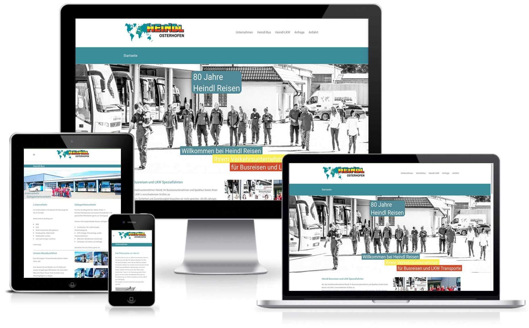 Webseite der Heindl Busreisen in Osterhofen