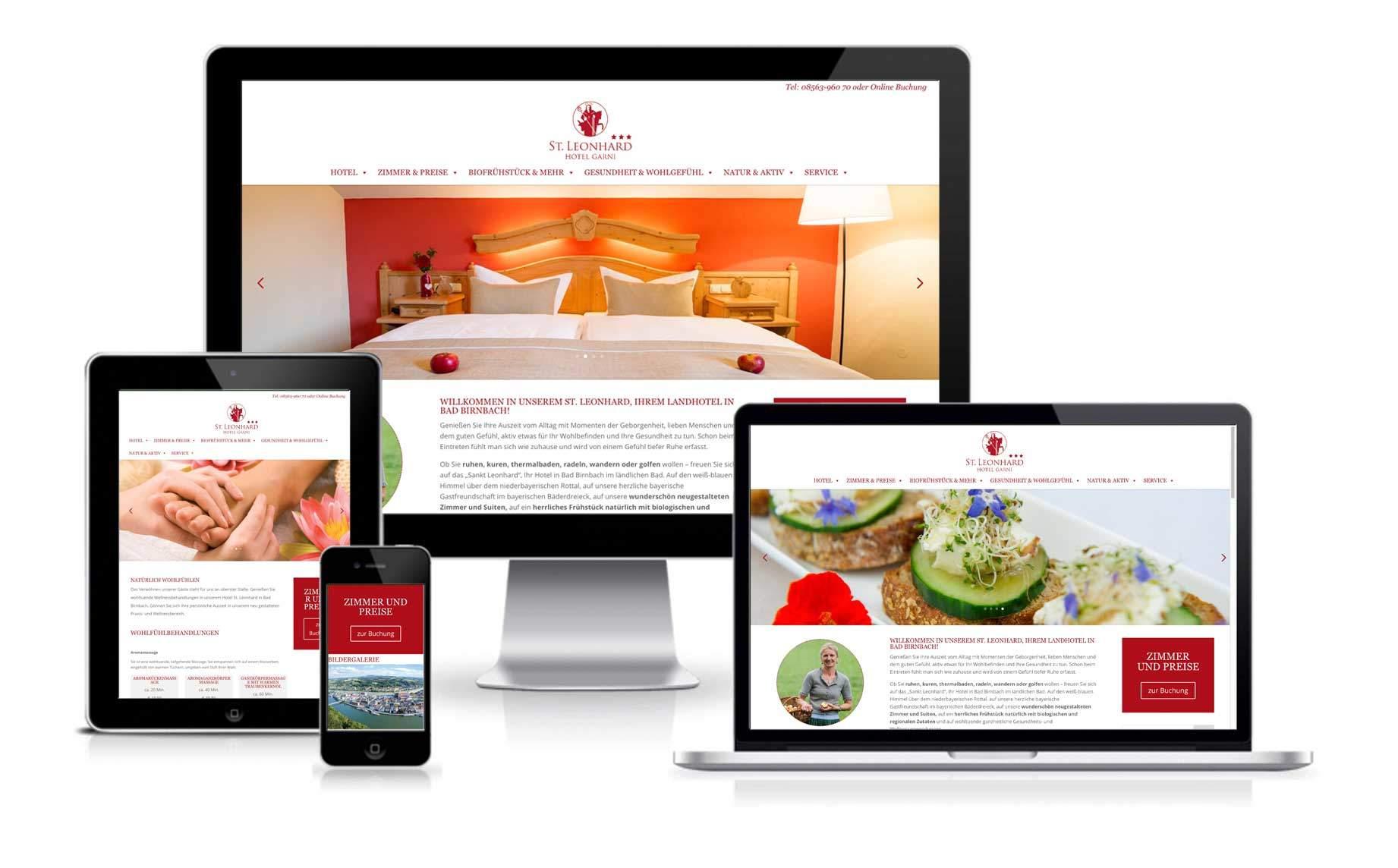 Webentwicklung Responsives Webdesign Hotel Sankt Leonhard